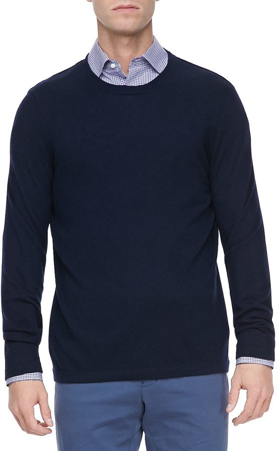 Vince Cashmere Crewneck Pullover Sweater Navy | Where to buy & how ...