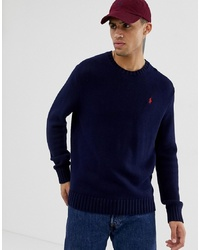Polo Ralph Lauren Chunky Cotton Knit Jumper With Crew Neck In Navy