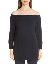 Lela Rose Contrast Neck Off The Shoulder Wool Cashmere Sweater