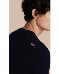 Burberry Crew Neck Cashmere Sweater With Check Trim