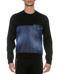 DSQUARED2 Denim French Terry Sweatshirt Blue