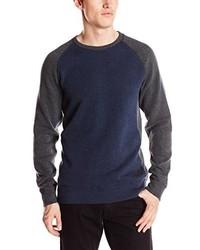 DKNY Jeans Long Sleeve Flatback Rib Three Color Black Crew Neck Knit