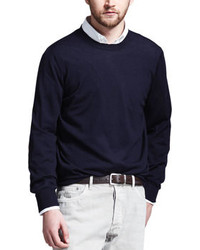 Brunello Cucinelli Fine Gauge Knit Elbow Patch Sweater Navy