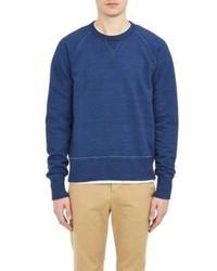 Todd Snyder Frayed Seams Sweatshirt Blue