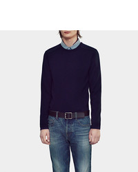 Gucci Wool Crew Neck Sweater With Leather Piping