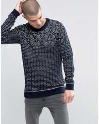 Selected Homme Pattern Stitch Crew Neck