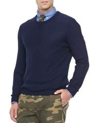 Ami Honeycomb Knit Crew Sweater