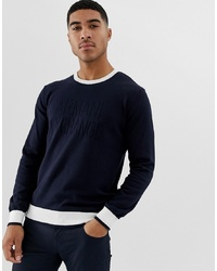 Armani Exchange Logo Contrast Neck Knitted Jumper In Navy