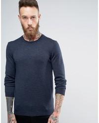 Asos Merino Wool Crew Neck Sweater In Navy