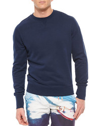Orlebar Brown Morley Crewneck Knit Sweatshirt Navy