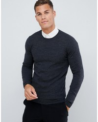 ASOS DESIGN Muscle Fit Merino Wool Jumper In Charcoal