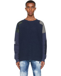 DSQUARED2 Navy Camo Patch Sweater