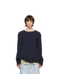 Dries Van Noten Navy Jelte Crewneck Sweater