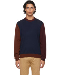 Paul Smith Navy Merino Wool Colorblock Sweater