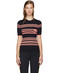 Versace Navy Pink Ribbed Sweater