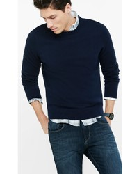 Navy Plaited Cotton Crew Neck Sweater