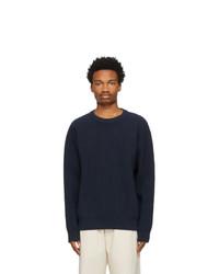 Jil Sander Navy Rib Knit Sweater