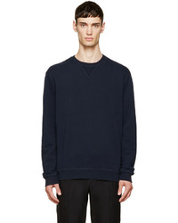 Maison Margiela Navy Suede Patch Sleeve Sweatshirt