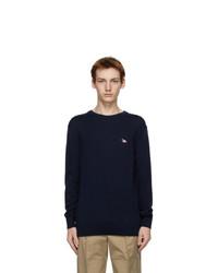 MAISON KITSUNÉ Navy Tricolor Fox Sweater