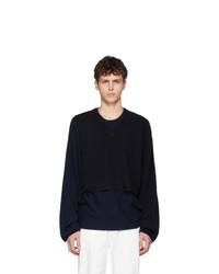 Maison Margiela Navy Twinset Sweater
