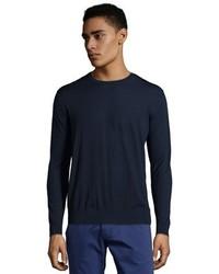 Prada Navy Virgin Wool Knit Crew Neck Sweater