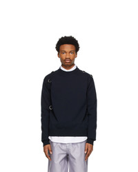 Jil Sander Navy Wool D Ring Sweater