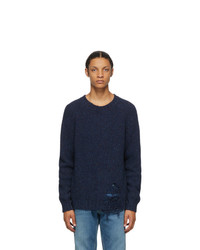 Maison Margiela Navy Wool Destroyed Hem Sweater