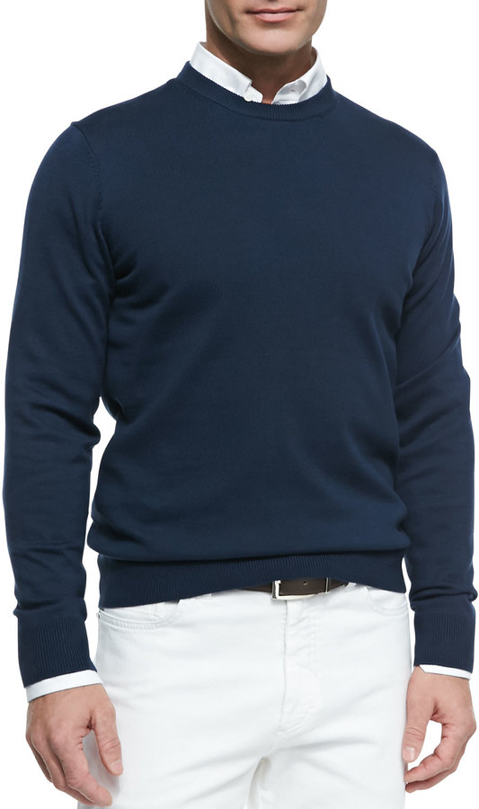 Womens Navy Blue Crewneck Sweater 68