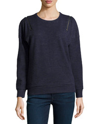 J Brand Ready To Wear Fleece Zip Shoulder Sweatshirt Navy Heather