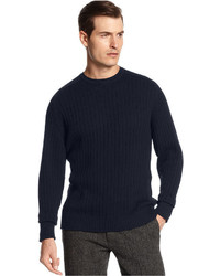 Oscar de la Renta Sweater Crew Neck Saddle Ribbed Cotton Sweater