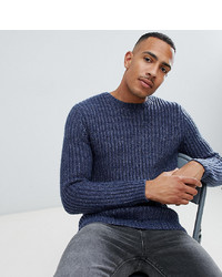 ASOS DESIGN Tall Heavyweight Fisherman Rib Jumper In Navy