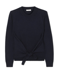 See by Chloe Tie Front Wool And Cotton Blend Sweater