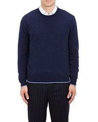 Barneys New York Tipped Crewneck Sweater Blue