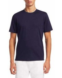 Saks Fifth Avenue Collection Crew Tee With Layer Neck Trim