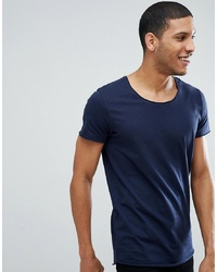 Jack & Jones Essentials Longline T Shirt With Raw Neck Blazer