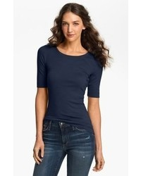 Halogen ballet neck tee navy peacoat x small p medium 70176