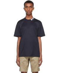Thom Browne Navy Interlock 4 Bar Mock Neck T Shirt