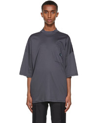 Giorgio Armani Navy Organic Cotton Jersey Mock Neck T Shirt
