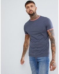 ASOS DESIGN T Shirt With Contrast Ringer In Blue Indigo Marl