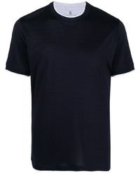 Brunello Cucinelli Two Tone Short Sleeved T Shirt