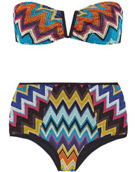 Missoni Mare Metallic Crochet Knit Bandeau Bikini Blue