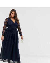 Club L London Plus Club L Plus Bridesmaid Long Sleeve Crochet Detail Maxi Dress