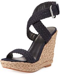 Alex crochet wedge sandal navy medium 193419