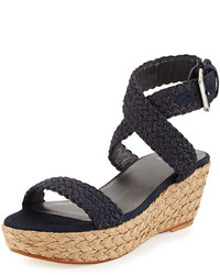 Alexlo crochet wedge sandal navy medium 193420