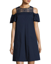 Neiman Marcus Off The Shoulder Crochet Lace Mini Dress Navy