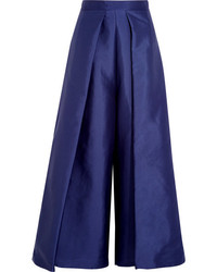 Aria cropped charmeuse wide leg pants navy medium 1032722