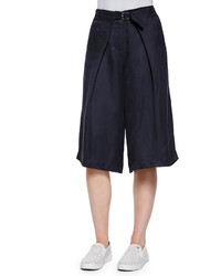 Tibi Belted Pleated Twill Culottes
