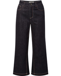 Fendi Cropped High Rise Wide Leg Jeans