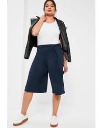 Missguided Plus Size Navy Ribbed Tie Belt Culottes