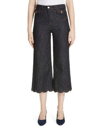 RED Valentino Scallop Hem Crop Wide Leg Jeans